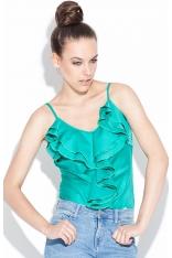 Zielona Elegancka Bluzka na Ramiączkach
