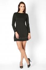 Czarna Trapezowa Sukienka z Kontrastowymi Wypustkami z Długim Rękawem