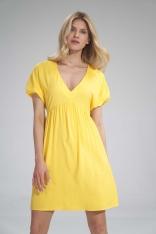 Sukienka o Luźnym Kroju z Bufkami - Żółta