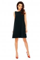 Czarna Wyjściowa Sukienka Trapezowa bez Rękawów