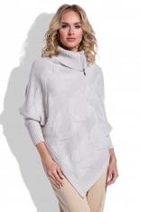 Beżowy Sweter-Ponczo z Golfem na Suwak