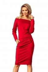 Czerwona Dopasowana Sukienka z Szerokim Dekoltem
