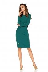 Ciemno Zielona Elegancka Dopasowana Sukienka z Patkami na Guzik
