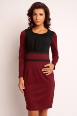 Czarno-bordowa Wizytowa Modna Sukienka z Szyfonową Nakładką z Długim Rękawem