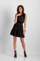 Czarna Mini Sukienka z Falbanką