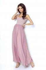 Różowa Wyjściowa Długa Sukienka z Szyfonowym Szerokim Dołem