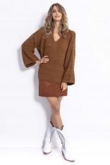 Kamelowy  Lekki Oversizowy Sweter z Rozszerzanymi Rękawami