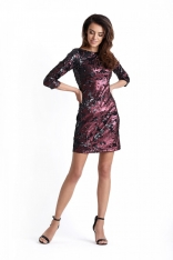 Bordowa Mini Sukienka Bodycon w Stylu Glamour