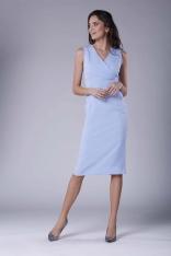 Błękitna Ołówkowa Sukienka Midi bez Rękawów z Kopertowym Dekoltem