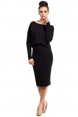 Czarna Sukienka Dopasowana Midi z Nakładką