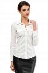 Ecru Klasyczna Taliowana Koszula z Długim Rękawem