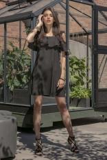 Czarna Wyjściowa Luźna Sukienka z Odkrytymi Ramionami