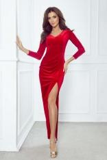Długa Czerwona Sukienka Welurowa