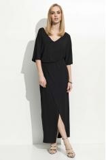 Czarna Maxi Sukienka z Zakładanym Dołem