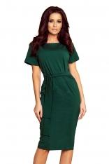 Zielona Dopasowana Sukienka Midi z Wiązaniem