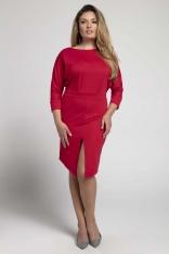 Czerwona Dopasowana Sukienka z Kimonową Górą