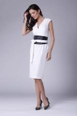 Ecru Elegancka Ołówkowa Sukienka Midi z Zaznaczoną Talią