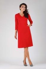 Czerwona Trapezowa Wizytowa Sukienka Mini z Kieszeniami
