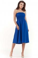 Niebieska Rozkloszowana Midi Sukienka z Gorsetową Górą z Gumkami
