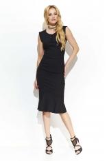 Czarna Elegancka Sukienka Midi w Stylu Rybki