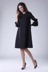 Czarna Trapezowa Sukienka Wizytowa z Efektownym Rękawem