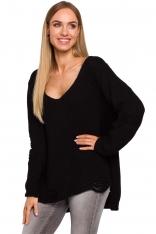 Czarny Nowoczesny Sweter Oversize z Efektem Damage