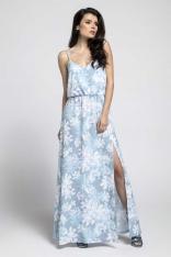 Niebieska Zwiewna Maxi Sukienka na Cienkich Ramiączkach z Rozcięciem