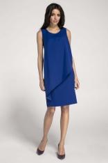Ołówkowa Kobaltowa Sukienka z Asymetryczną Nakładką