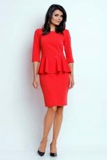 Czerwona Wizytowa Sukienka Mini z Baskinką