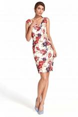 Kwiatowa Dopasowana Sukienka z Dekoltem na Plecach