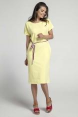 Żółta Prosta Sukienka Midi Przewiązana Kolorowym Sznurkiem