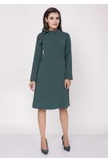 Zielona Wizytowa Sukienka Midi ze Stójką i Kokardką