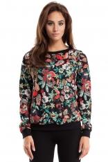 Bluza Przez Głowę w Kolorowe Wzory w Kwiaty