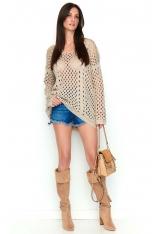 Beżowy Ażurowy Sweter Oversize