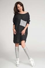 Długi Czarny Sweter z Kontrastową Kieszenią