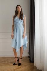 Niebieska Asymetryczna Sukienka z Kopertowym Dekoltem
