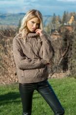 Mocca Ciepły Sweter z Ozdobnym Wzorem