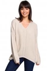 Beżowy Oversizowy Sweter w Serek z Asymetrycznym Dołem