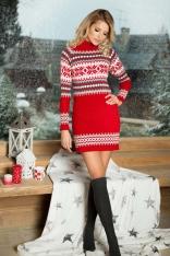 Czerwona Swetrowa Sukienka z Golfem w Skandynawski Wzór