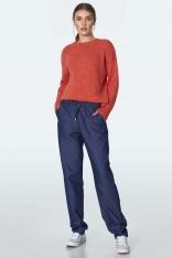 Jeansowe Casualowe Spodnie z Wiązaniem