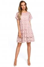 Różowa Zwiewna Sukienka Koronkowa z Mini Rękawkiem