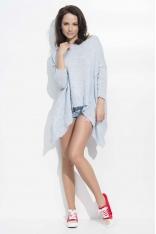 Błękitny Sweter Oversizowy z Wydłużonymi Bokami
