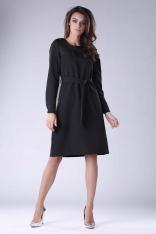 Czarna Rozkloszowana Sukienka Zdobiona Dżetami