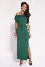 Zielona Sukienka Maxi z Dekoltem w Łódkę