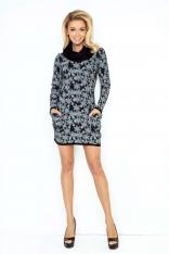 Czarna Mini Sukienka z Opadającym Golfem i Kieszeniami