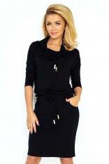 Czarna Sukienka Ołówkowa z Golfem Wiązana w Pasie