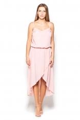 Różowa Sukienka Midi z Zakładanym Dołem na Ramiączkach