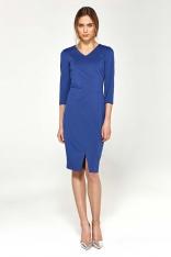 Niebieska Dopasowana Elegancka Sukienka z Przeszyciami