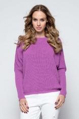 Fioletowy Sweter z Dekoltem V na Plecach