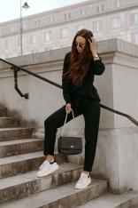 Czarny Dzianinowy Komplet Bluza i Spodnie
